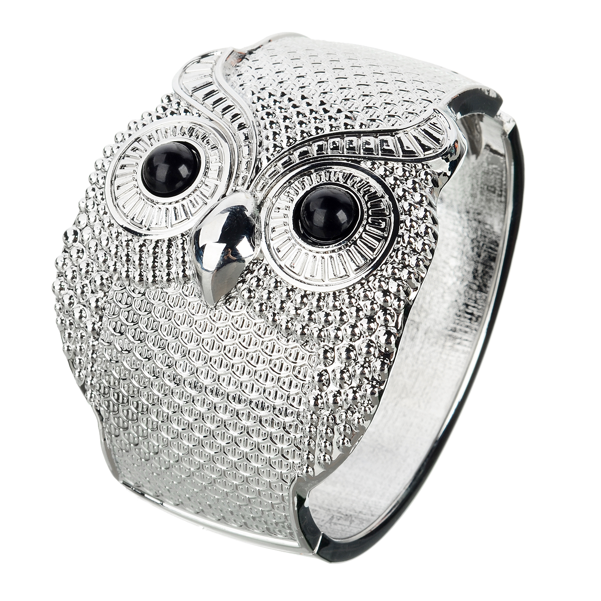 Unisex Novel Owl Modelling Bangle - Prata Branco + Preto