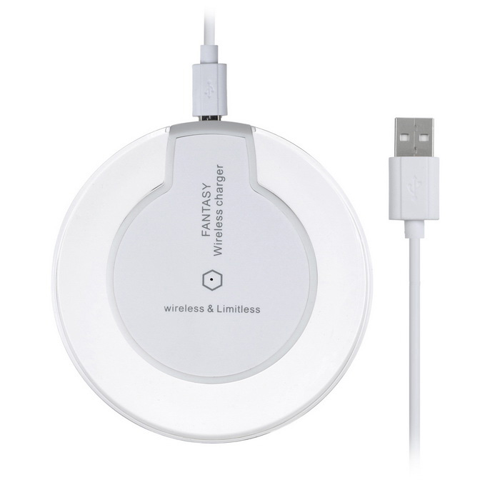 QI Wireless Charger for Samsung S6 + More - White + Transparent