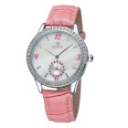 SKONE Women's Shell Dial Watch with Working Sub-Dial - Pink + White