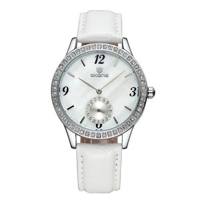 SKONE 259902 Women's Shell Dial Watch with Working Sub-Dial - White