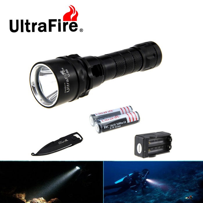 Ultrafire XM-L2 Cold White Diving Flashlight w/ Keychain Knife - Black