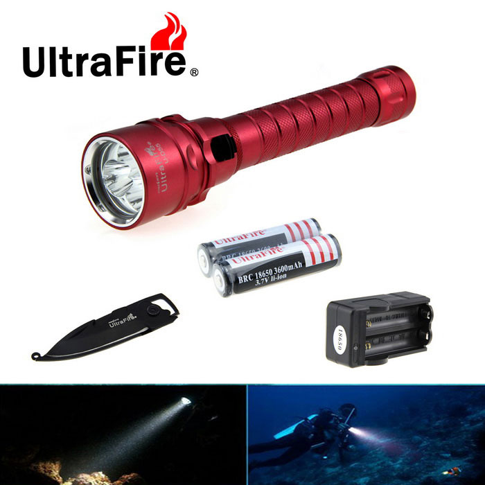 Ultrafire XM-L2 2689lm Cold White Diving Flashlight w/ Keychain Knife