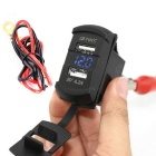 IZTOSS Dual Port USB Car Charger w/ Blue LED Light Voltmeter - Black
