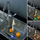 LSK03 Brass Personalized LED Kitchen Sink Faucet - Silver
