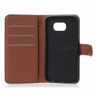 Litchi Grain PU Case w/ Stand, Card Slot for Samsung Galaxy S6 - Brown