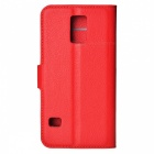 Litchi Grain PU Case w/ Stand for Samsung Galaxy S5 - Watermelon Red