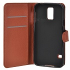 Litchi Grain PU Case w/ Stand, Card Slot for Samsung Galaxy S5 - Brown