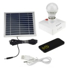 2-in-1 3W Solar Power Charger / Camping Tent Light - White + Black