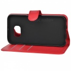 Litchi Grain PU Case w/ Stand for Samsung Galaxy S6 - Watermelon Red