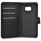 Litchi Grain PU Case w/ Stand for Samsung Galaxy S6 Edge - Black