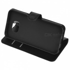 Litchi Grain PU Case w/ Stand, Card Slot for Samsung Galaxy S6 - Black