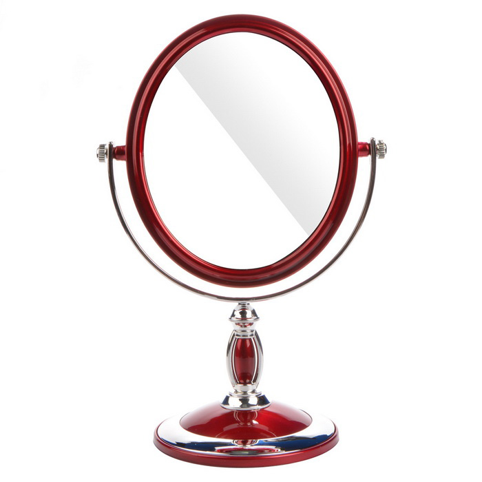 Oval Desktop Double-Sided Vanity Mirror - Wine Red + Silver