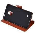 Lychee Pattern Protective PU Case for Samsung Note Edge - Brown