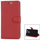 Lychee Pattern Protective PU Case for Huawei P9 - Watermelon Red