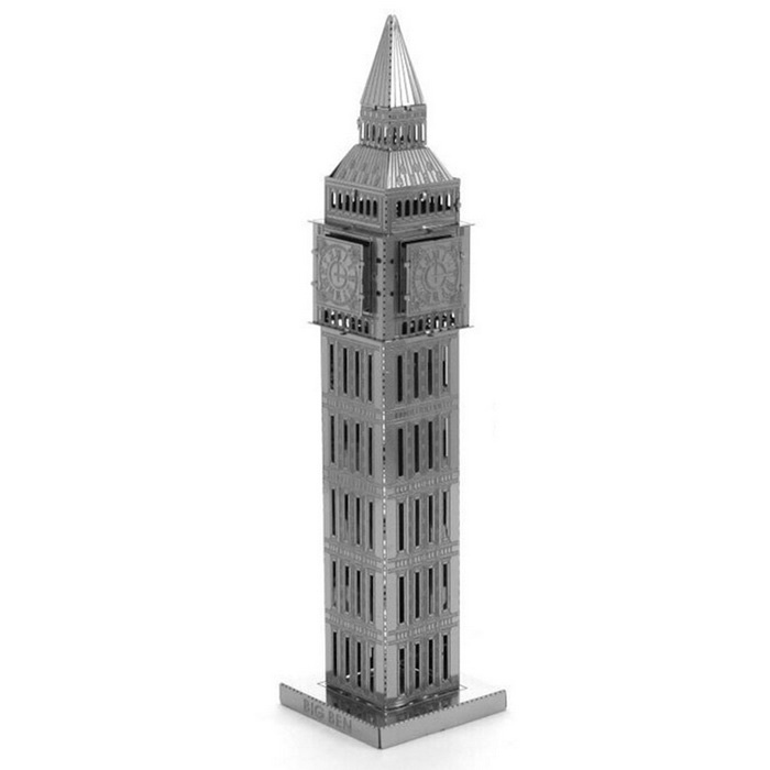 Three Dimensional Big Ben Metal Puzzle Toy - Antique Silver