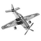 Fighter Style Three Dimensional Metal Puzzle Toy - Antique Silver