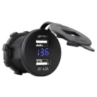 IZTOSS USB Motorcycle / Car Charger w/ Voltmeter - Black + Light Blue