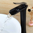Fashionable Waterfall Oil-rubbed Bronze Bathroom Sink Faucet - Black
