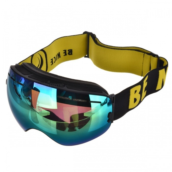BE NICE SNOW3100 Anti-Fog Spherical Lens Skiing Goggles - BlackGoggles<br>Lens ColorYellow REVOFrame ColorBlackModelSNOW3100Quantity1 DX.PCM.Model.AttributeModel.UnitShade Of ColorYellowGenderUnisexSuitable forAdultsLens MaterialPC + UVLens Width17.3 DX.PCM.Model.AttributeModel.UnitFrame MaterialTPUFrame Height9.8 DX.PCM.Model.AttributeModel.UnitOverall Width of Frame17.7 DX.PCM.Model.AttributeModel.UnitBridge Width5 DX.PCM.Model.AttributeModel.UnitCertificationCEPacking List1 * Goggles1 * Pouch1 * Case1 * Chinese &amp; English user manual<br>