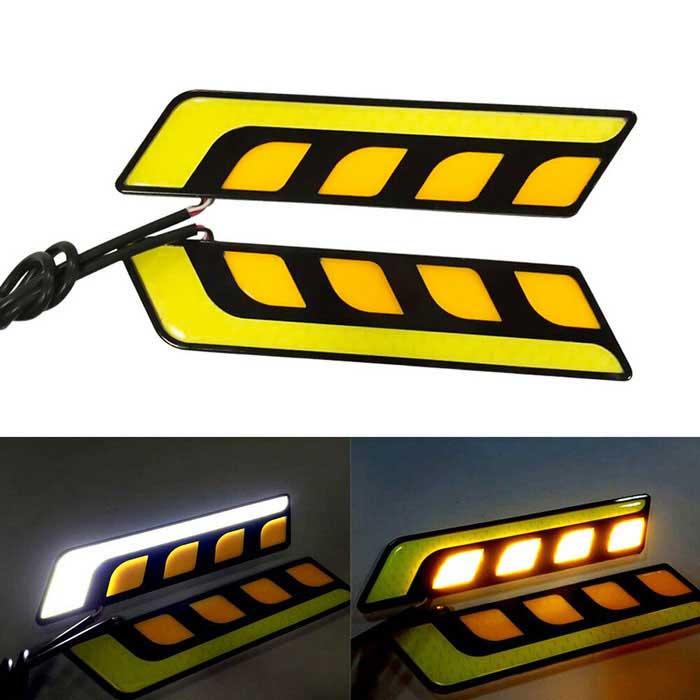 Jiawen 6W 5-COB Car Daytime Running Light - Black + Yellow (DC 12V)Decorative Lights / Strip<br>Color BINOthersModelDYIQuantity1 DX.PCM.Model.AttributeModel.UnitMaterialPlastic + AluminumForm  ColorBlack + Yellow + Multi-ColoredEmitter TypeOthers,COBChip BrandOthers,-Total Emitters5Rate VoltageDC 12VPower6WActual Lumens360-400 DX.PCM.Model.AttributeModel.UnitWater-proofIP65ApplicationDecoration light,Steering light,Daytime running lightPacking List2 * Lights (40+/-2cm-cable)2 * Dual-side stickers<br>