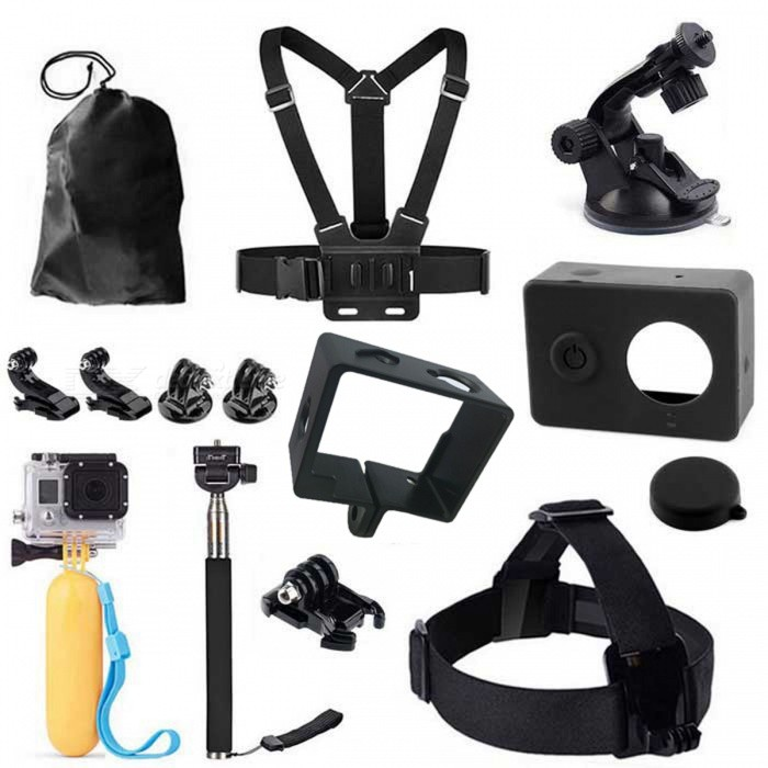14-in-1 Accessories Set Kit Case Bag for Xiaomi Xiaoyi Camera - BlackOther GoPro Accessories<br>Form ColorBlackModelGP194Quantity1 DX.PCM.Model.AttributeModel.UnitMaterialPlasticShade Of ColorBlackPacking List1 * Chest strap1 * Head belt1 * Monopod1 * Suction cup1 * Floating handle grip1 * Pouch2 * J-Hook2 * Connectors1 * Holder1 * case1 * Silicone cover1 * Lens caps<br>