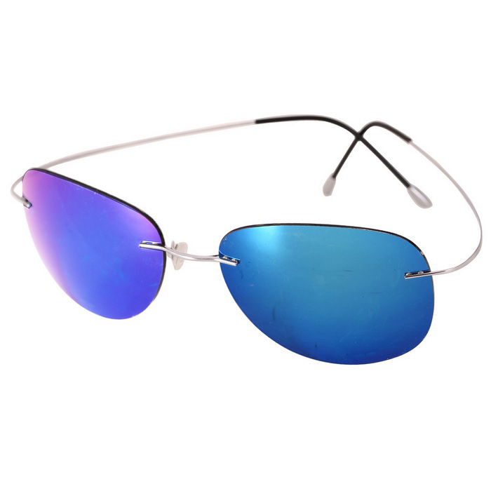 Reedoon RD0077 Pure Titanium Polarized Sunglasses - Silver + Blue
