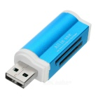 Mini Multi-functional USB 2.0 SD / TF / M2 / M3 Card Reader - Blue