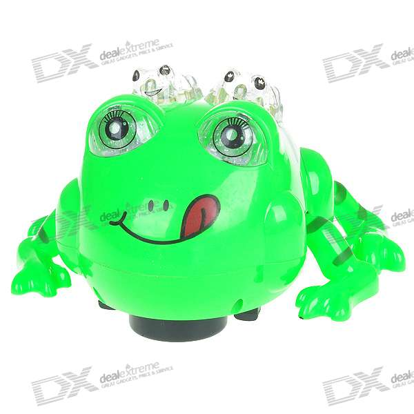 Moving Frog Toy with LED Light and Sound Effects - Green (3*AA)