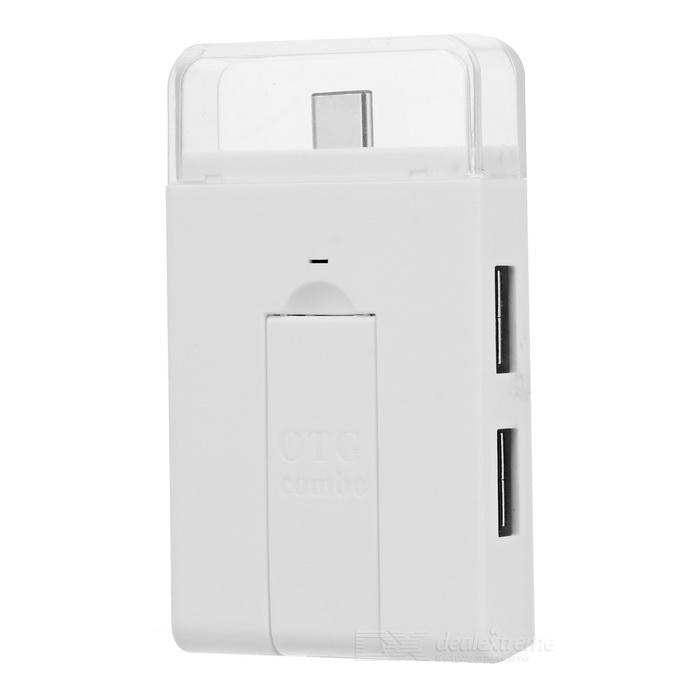 USB 3.1 Type-C 2-USB 2.0 Hub + SD / TF Card Reader + Stand - White