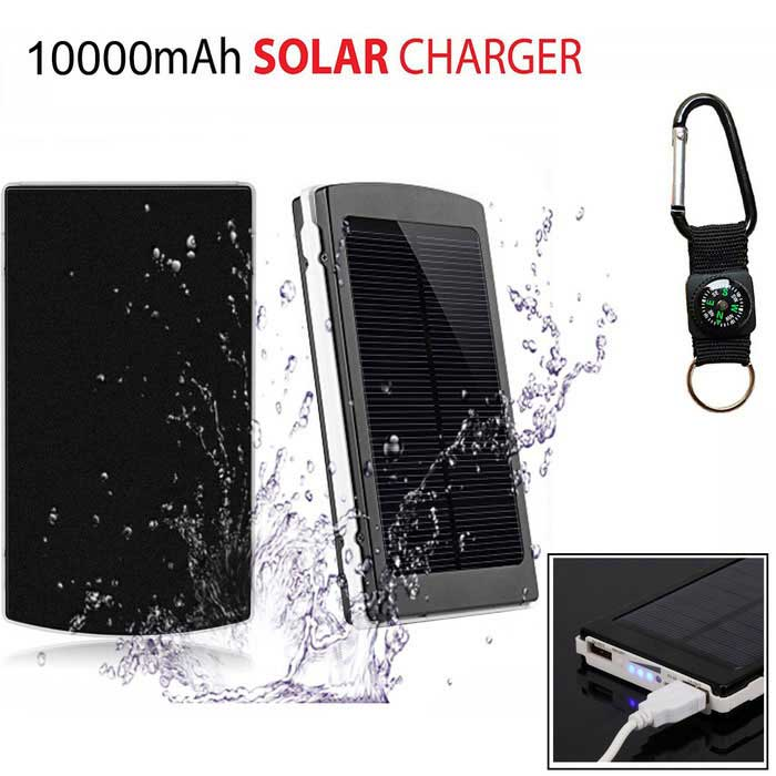 "SUNGZU ""10000mAh"" Dual USB Solar Power Bank + Compass - Black + White"