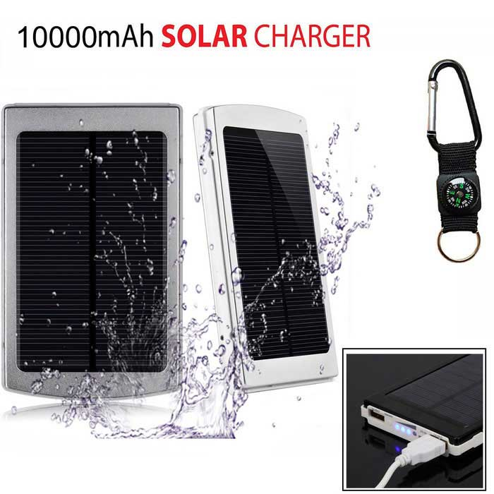 "SUNGZU ""10000mAh"" Dual USB Solar Power Bank - Silver + White"