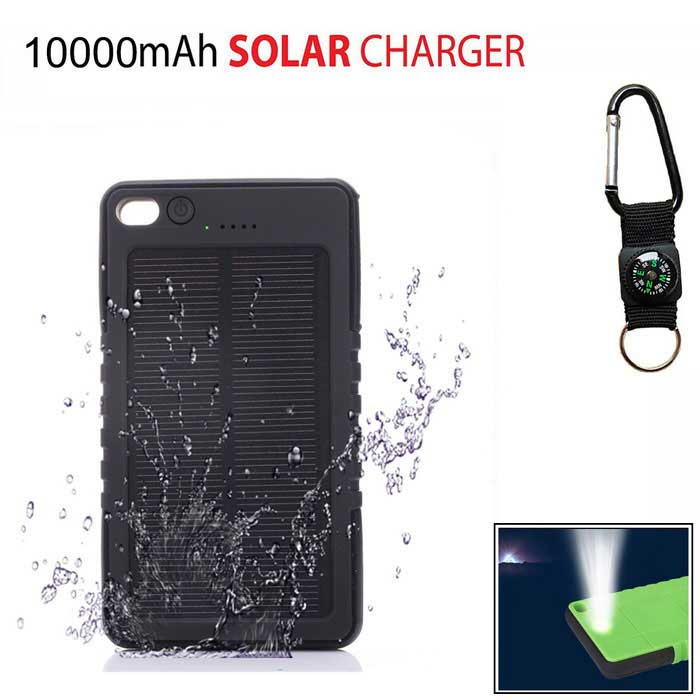 SUNGZU 8000mAh Dual USB Solar Power Bank + Compass - черный + белый