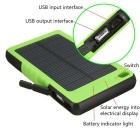SUNGZU 8000mAh Dual USB Solar Power Battery Bank + Compass - Green