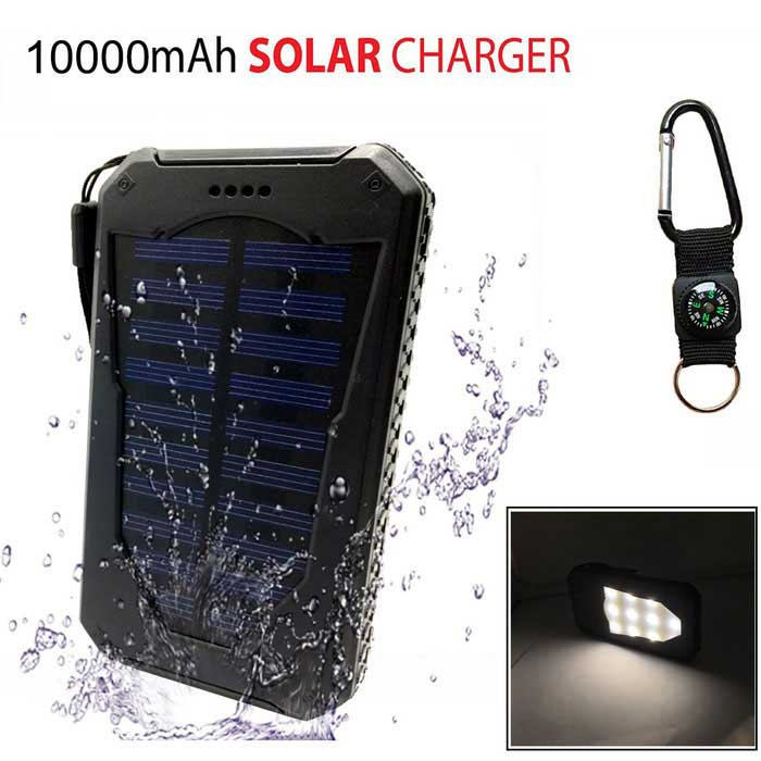 "SUNGZU Dual USB ""10000mAh"" Solar Power Bank + Compass - черный + белый"