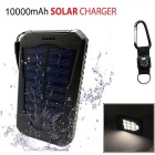 "SUNGZU Dual USB ""10000mAh"" Solar Power Bank + Compass - Black + White"