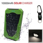 "SUNGZU ""10000mAh"" Dual USB Solar Power Bank + Compass - Green"
