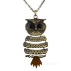 Personalized Owl Design Pendant Necklace - Bronze + Black