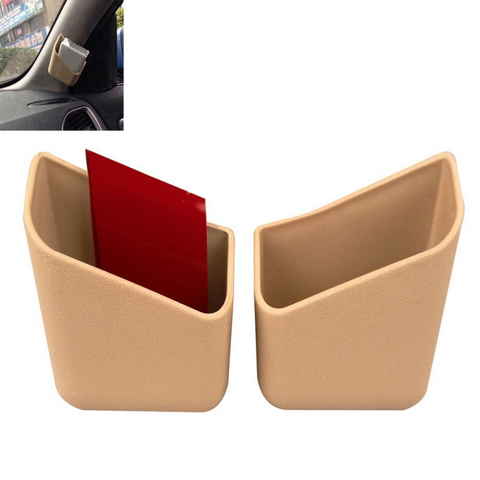 ZIQIAO Multifunction Car Paste-Type Storage Organize Boxes - Beige