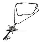 White Rhinestones Studded Star Pendant Necklace for Women - Black