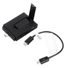 USB 3.1 Type-C 2-USB 2.0 Hub + SD / TF Card Reader + Stand - Black