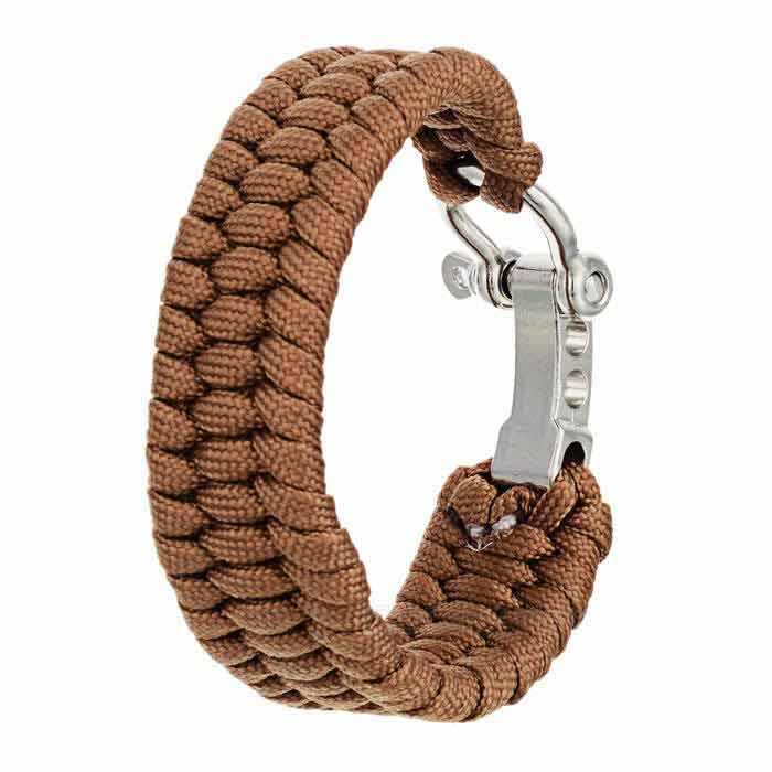 Outdoor Emergency & Survival Paracord Bracelet - Brown