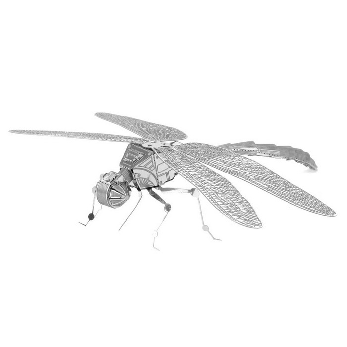 DIY 3D Puzzle Assembled Model Insect Dragonfly Educational Toys-Silver
