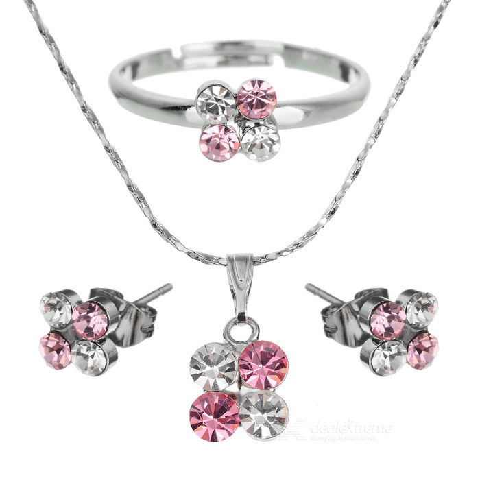 Plum Blossom Shaped Stud Earrings + Ring + Necklace - Silver + Pink