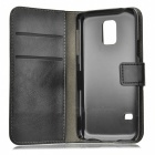 Litchi Grain PU Case w/ Stand for Samsung Galaxy S5 Mini - Black