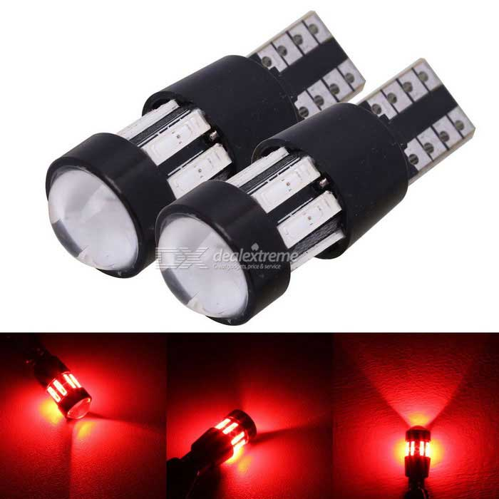 MZ T10 5W canbus electrodeless puerta luces rojo 10-7020 SMD (2PCS)