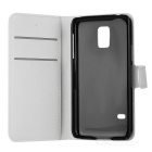 Litchi Grain PU Case w/ Stand for Samsung Galaxy S5 Mini - White