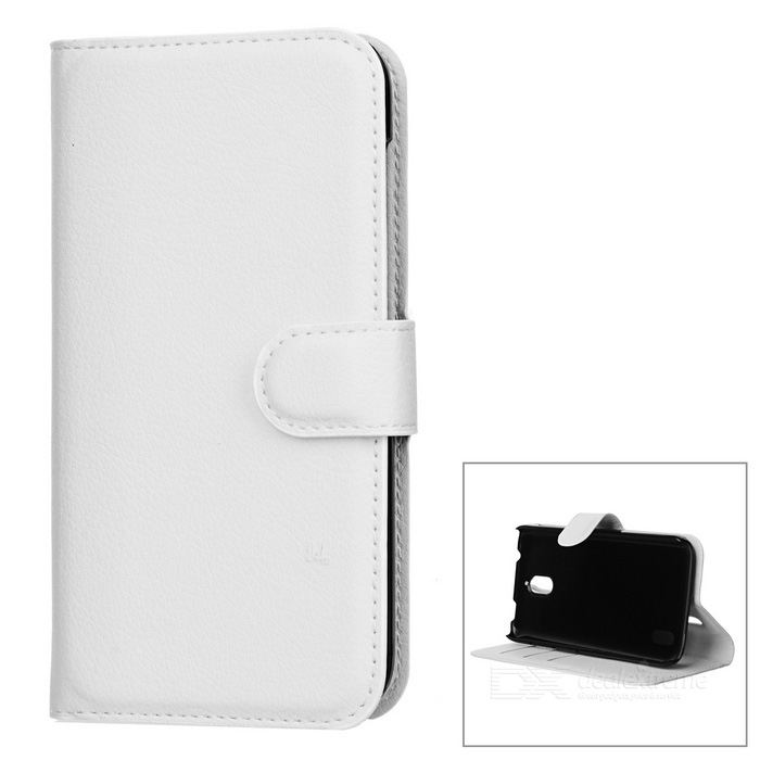 Lychee Pattern Protective PU Case for Huawei Y625 - White