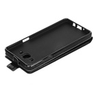 Up-Down Flip Open Protective PU Case for Samsung A510 - Black