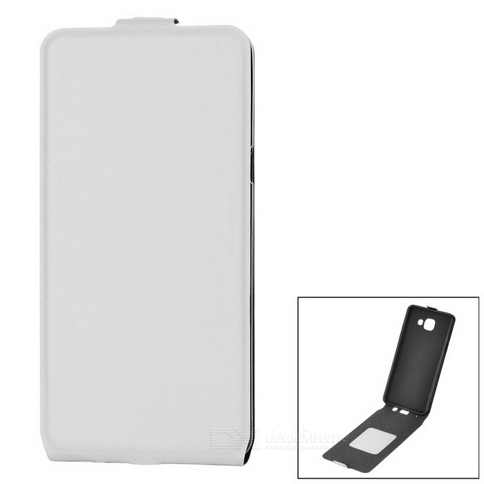 Up-Down Flip Open Protective PU Case for Samsung A510 - White