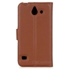 Cas de protection en PU Lychee Motif pour Huawei Ascend Y550 - Brown